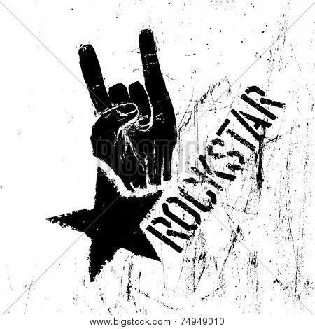 Rockstar symbol with sign of the horns gesture. Vector template with scratched texture.