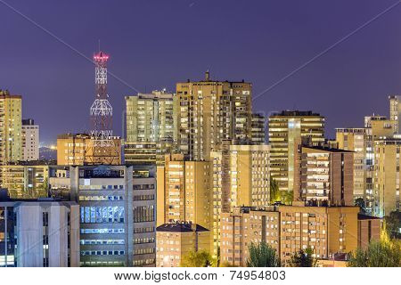 Madrid, Spain cityscape of residential and office high rises. poster