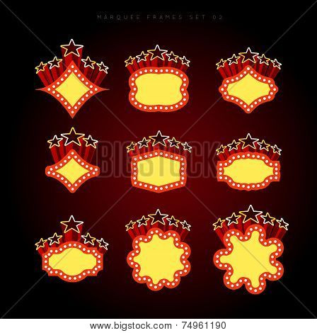 Retro illuminated movie marquee vector set 02. Simple neat flat style poster