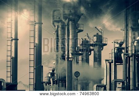 oil and gas refinery, smoke, smog and pollution