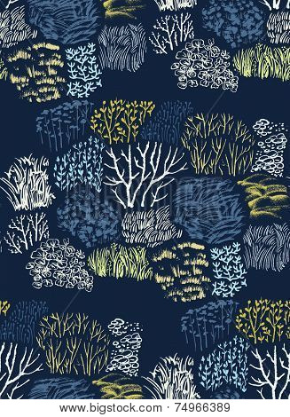 Vector seamless abstract hand-drawn pattern with grass