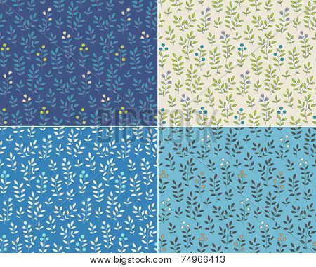 Set of foral seamless patterns, vector illustration