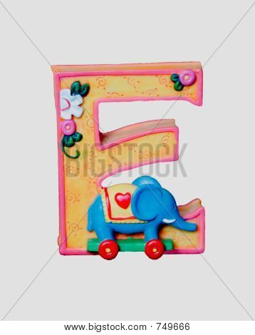 Ceramic toy letter E