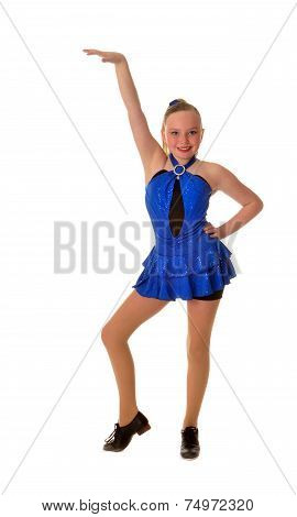 Smiling Teen Tap Dancer In Blue Dress