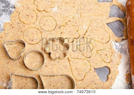 Cookie Cutters On Fresh Dough