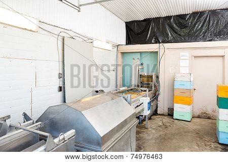Interior of honey Extractor