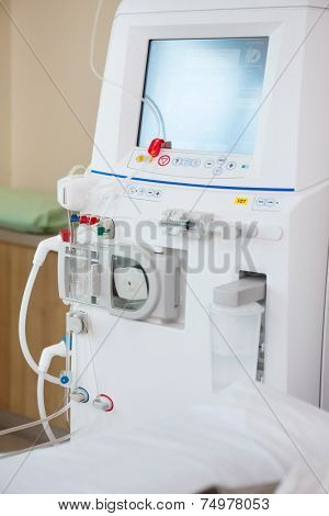 Closeup of advanced dialysis machine in chemo room at hospital