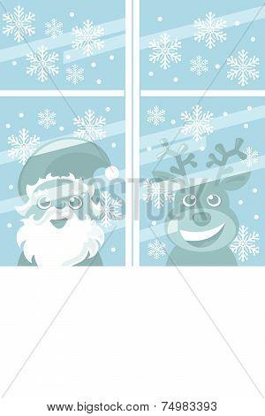 santa claus and rudolph reindeer peeking through the window