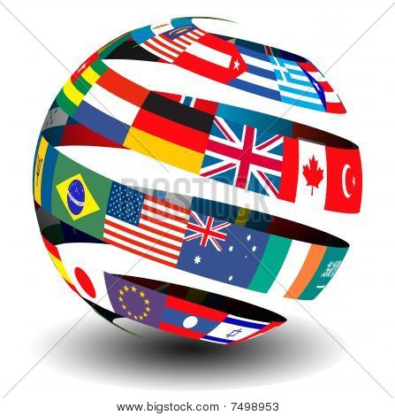 Flags of the world set in a globe/sphere