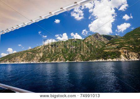 Cruise In Mediteranean Sea Around Holly Mountain Greece