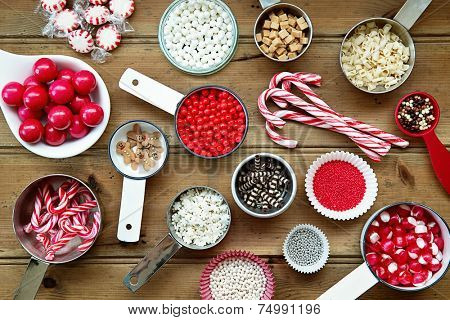 Christmas cupcake decorations and sprinkles poster