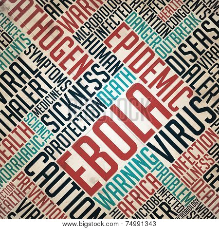 Ebola - Epidemic Concept. Grunge Wordcloud on Old Fulvous Paper. poster
