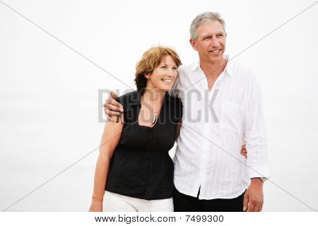 Beautiful mature couple taking a walk