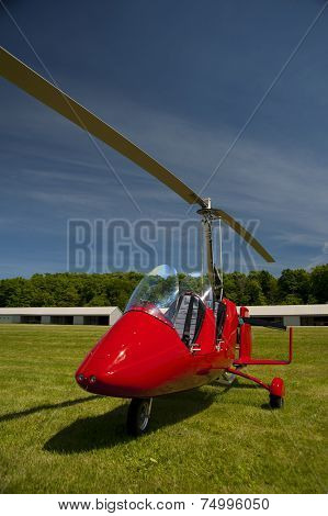 Red Open-cockpit Autogyro