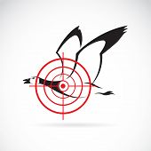 Vector image of a wild duck target on a white background. poster
