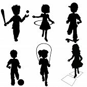 silhouettes children playing, birthday, events, sports & games poster