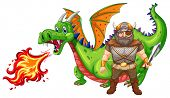 illustration of a viking and a dragon poster