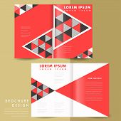 abstract modern geometric half fold brochure in red and black poster