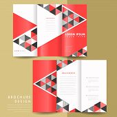 abstract modern geometric tri fold brochure in red and black poster