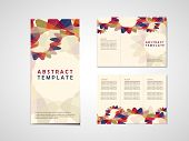 colorful abstract background tri fold brochure template in red and blue poster