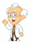 Vector Picture of a Professor Cartoon Character Waving poster