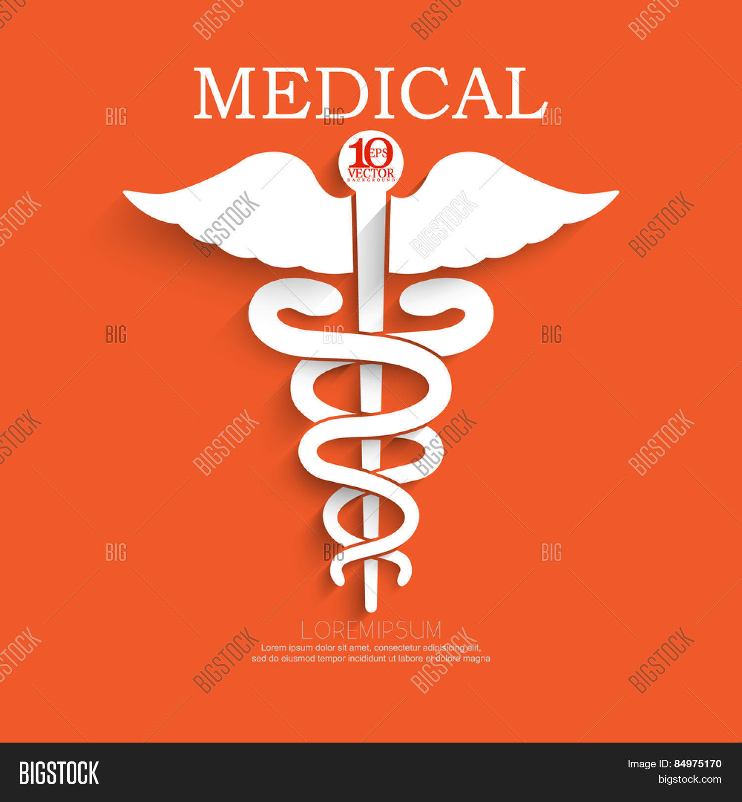 Eps10 vector aesculapius medical vector photo bigstock eps10 vector aesculapius medical symbol two serpent surrounding a staff with wings white silhouette buycottarizona Image collections