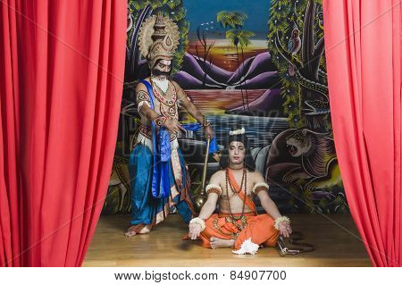 Two actors dressed-up as Rama and Ravana the Hindu mythological characters poster