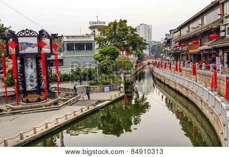Canal Bridge Walking Street Lychee Bay Luwan Guangzhou Guangdong Province China