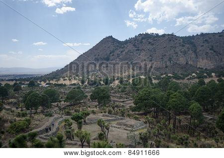 Archaeological ruins in Cantona, Puebla, Mexico