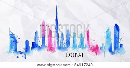 Silhouette watercolor Dubai