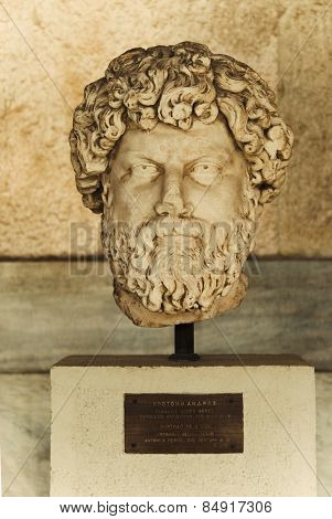 Bust in a museum, Stoa of Attalos, The Ancient Agora, Athens, Greece