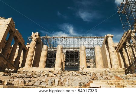 Ruins of an ancient gateway under renovation, Propylaea, Acropolis, Athens, Greece