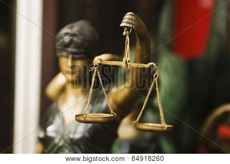 Close-up of a statue of Goddess of Justice, New Delhi, India