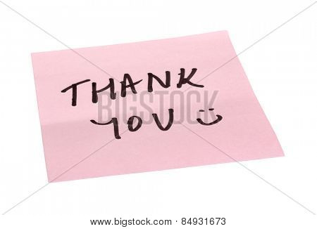 Text Thank You written on an adhesive note