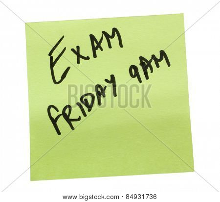 Text written on an adhesive note