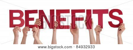 Many People Hands Holding Red Straight Word Benefits