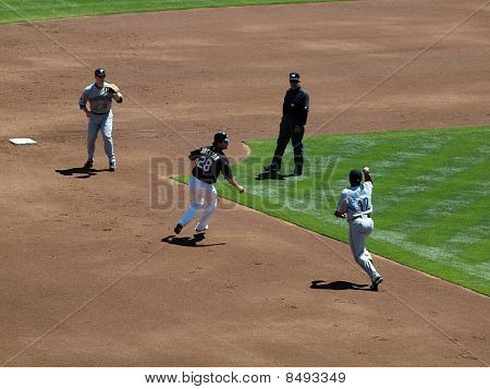 Athletics Conor Jackson Stuck In A Run Down Between Blue Jays 2Nd Baseman And Shortstop