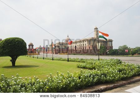 Facade of a government building, Rashtrapati Bhawan, New Delhi, India