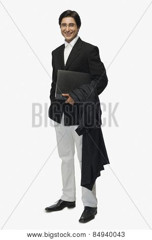Portrait of a lawyer holding a file and smiling