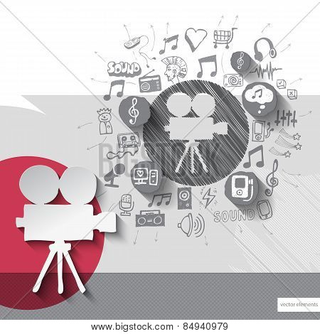 Hand drawn video camera icons with icons background