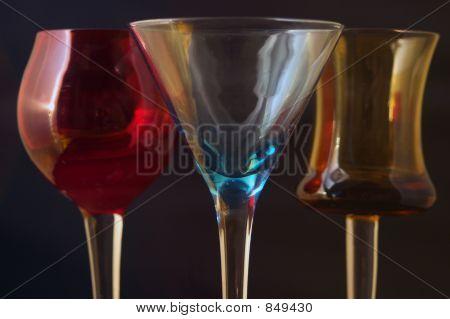 Three Colored Cordial Glasses