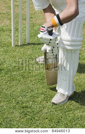 Cricket batsman playing a defensive stroke