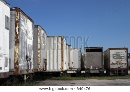 Derelict Tractor Trailers In A Row