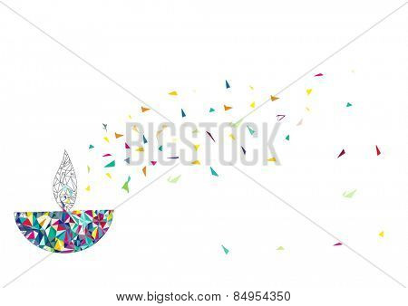 Diwali oil lamp isolated on white background