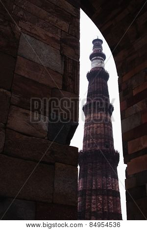 Low angle view of a minaret, Qutub Minar, Delhi, India poster
