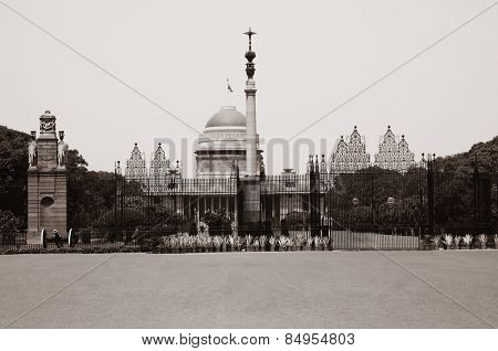 Facade of a government building, Rashtrapati Bhavan, Rajpath, New Delhi, India