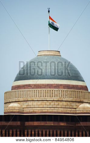 Indian flag over a government building, Rashtrapati Bhavan, Rajpath, New Delhi, India