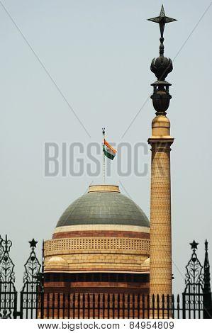 Low angle view of a government building, Rashtrapati Bhavan, Rajpath, New Delhi, India poster