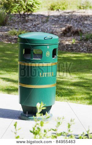 Garbage bin in a park, Adare, County Limerick, Republic of Ireland