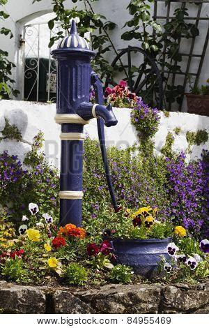 Model of hand pump between plants, Adare, County Limerick, Republic of Ireland